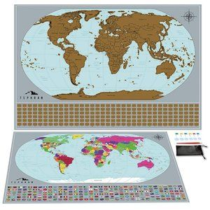 Tephran Scratch Off Map of The World Poster nwot